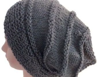 Slouchy beanie, Grey slouchy beanie,  Cotton slouchy, Knitted beanie, Gift for her, Gift for him, Knitted grey slouchy, Gift for Boyfriend