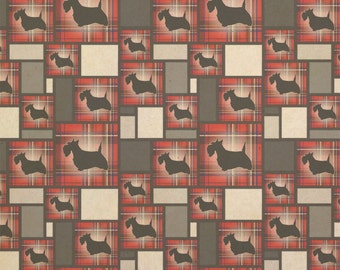 Scottie Dog On Red Plaid Scottish Terrier Kraft Present Gift Wrap Wrapping Paper