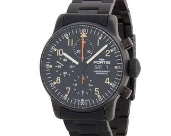 Fortis 1990s B42 597.18.141 Black PVD Chronograph Mens Watch