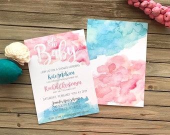 Digital Baby Shower Invite - Watercolor Splash - Pink and Blue