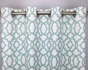 Light Blue Moroccan Curtains - FREE SHIPPING - Pale Blue Rod-Pocket Drapes -Grommets - Lined/Unlined - Valance- 24 50 x 84 96 108 120