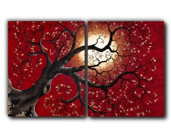 25 in. x 40 in. Giclée, Diptych, Canvas Print, Landscape, Tree, Metal Leaf Flake, Acrylic Painting, Contemporary Art, Reproduction, Red