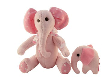 Elephant Sewing Pattern PDF Instant Download Calf Toy Plush Pink Elephant Judy & Elephant Calf Memory Elephant Sewing Pattern Elephant Calf