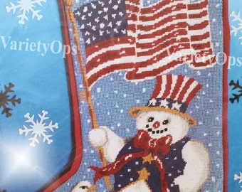 Rare Vintage & Patriotic ALL AMERICAN SNOWMAN Needlepoint Stocking Kit by Candamar - Winter, Eagle, American, Flag, Patriotic, Proud, Snow