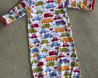 FREE SHIPPING, Cars and trucks baby boy gown, baby boy gown, Shower Gift, Infant boy gown, Infant Gown, Infant Clothes