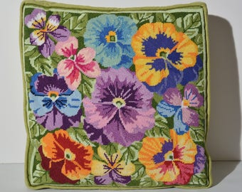 Colorful pansies vintage needlepoint pillow