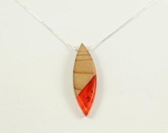 Necklace pendant-wood - Cypress Inclusions leaves of Orange-gold - calendar Celtic-unique Piece