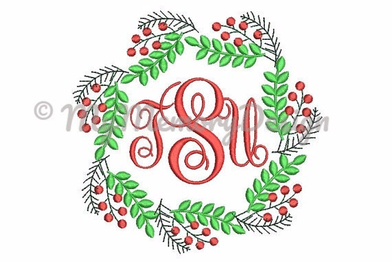 Frame embroidery design christmas pattern