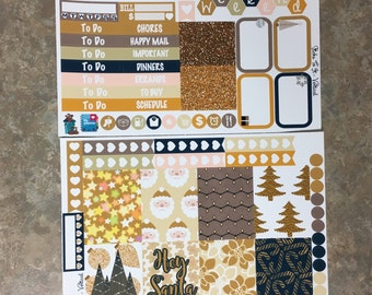 Golden Christmas Mini Weekly Set Horz and Vert Planner Stickers - Full Week ECLP Mambi Inkwell Press Filofax Kikki K winter Santa glitter