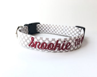 Dog Collar, Embroidered Dog Collar, Personalized Dog Collar, polka dot Dog Collar, gray and red Dog Collar, Personalized Collar