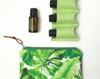 Essential Oil Bag, small oil bag, essential oil storage, essential oil travel pouch, 3 oil bag, greenery oil  bag, palm leaves oil bag