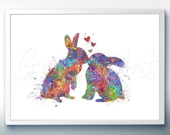Rabbit Kissing Watercolor Art Print  - Home Living - Animal Painting - Rabbit Poster - Wall Decor - Home Decor - House Warming Gift