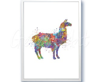 Lhama Watercolor Art Print - Alpaca Art - Home Living - Animal Painting - Dog Poster - Wall Decor - Home Decor - House Warming Gift