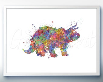 Dinosaur Triceratops Watercolor Art Print - Dinosaur Watercolor Art Painting - House Warming Gift