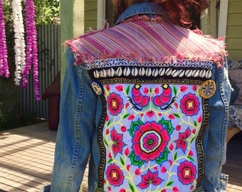 Boho styled upcycled & embellished denim jacket
