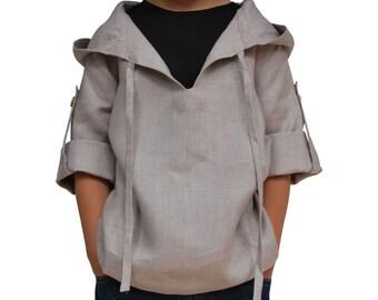 CLOSING DOWN SALE. Handmade Linen Top with Hood in Tan Brown