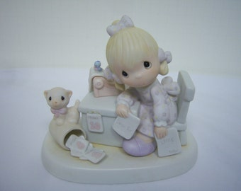 Praise The Lord Anyhow, Precious Moments, Figurine, Cross Mark, Pre Owned, No Original Box,  #9254, No Damage, As Found