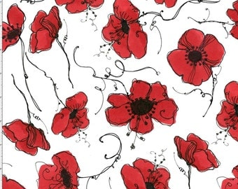 Loralie Designs Poppies White Fabric Loralie Designs Red Poppies on White Background Red Poppies Fabric