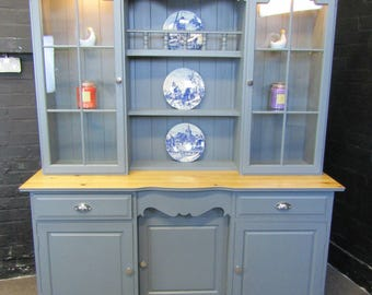 SOLD Large Pine Welsh Dresser with Lights-Kitchen Unit -Farmhouse-Shabby Chic- Grey