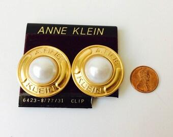 Vintage Anne Klein Earrings/Vintage Logo Earrings/Vintage Faux Pearl Earrings/Anne Klein Logo/Vintage Anne Klein/Statement Earrings