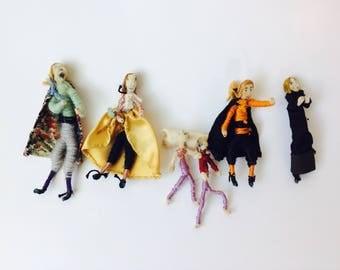 Vintage Pipe Cleaner Dolls/Vintage Set of Miniature Dolls/Miniature Dolls/Set of Handmade Dolls/ Vintage Theater Dolls/Handcrafted/Miniature