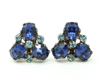 Vintage Large Faux Sapphire Rhinestone Clip Earrings