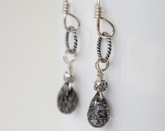 Black Rutile Quartz Earrings  | Black and White Earrings | Sterling Silver | Black Dangle Earrings  | Rutilated Quartz | MahiDesigns1