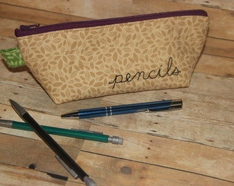 Padded Zippered Pouch Pencil Bag with Flat Bottom. Hand Embroidered pencils.