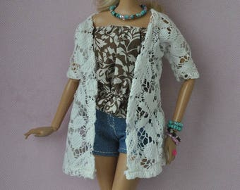 Beautiful handmade outfit: lace kardigan for Barbie Fashionistas dolls