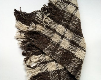 Hand woven wool plaid placemat