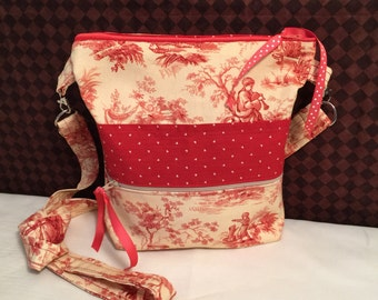 Red and Ivory French Toile Cross Body Messenger Tote.  French Toile Sling Purse.