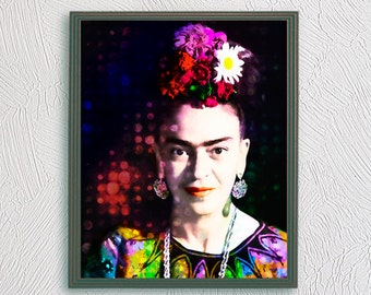 Frida Kahlo print poster popart portrait drawings painting, Frida Kahlo, Frida photo, mexican style, Frida Kahlo image, Frida portrait