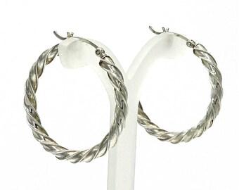 Sterling Silver Twisted Hoop Earrings Medium Sized 30 mm