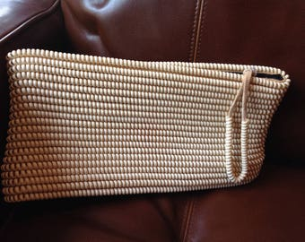 Beautiful vintage beige telephone cord clutch purse