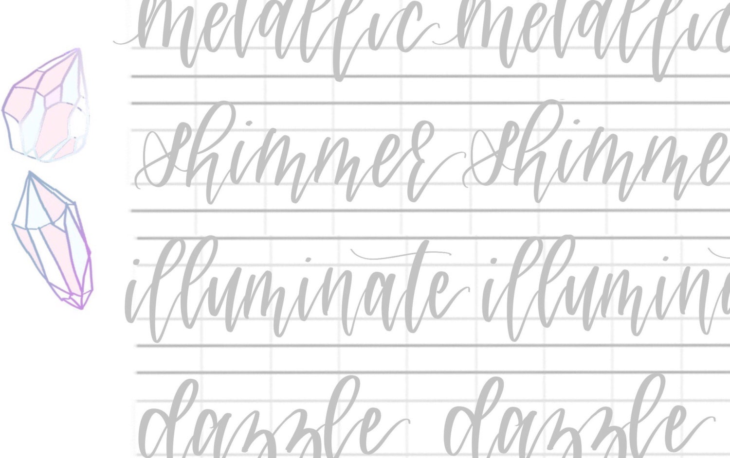 Hand lettering practice sheets sparkly double letter