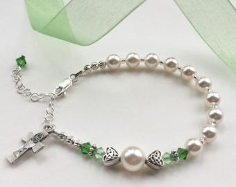 First Communion Rosary Bracelet, Irish Bracelet, Swarovski and Pearl, First Communion Gift for Girl