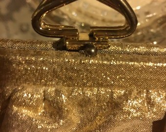 Vintage Gold Metallic Purse, 1960s Golden Evening Bag with Chain