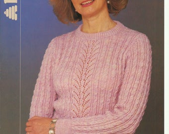 Ladies Sweater Knitting Pattern.