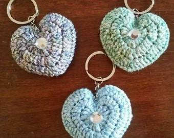 Valentine heart keychains and envelope with love letter