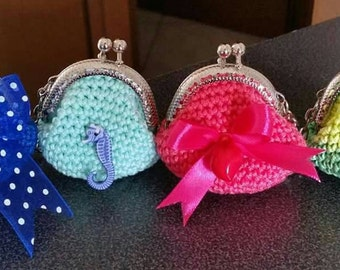 5 cm diameter small coin purse with key ring