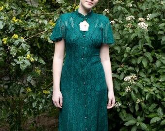 VINTAGE 1990s Evergreen Full Lace Bodycon Elegant Dress
