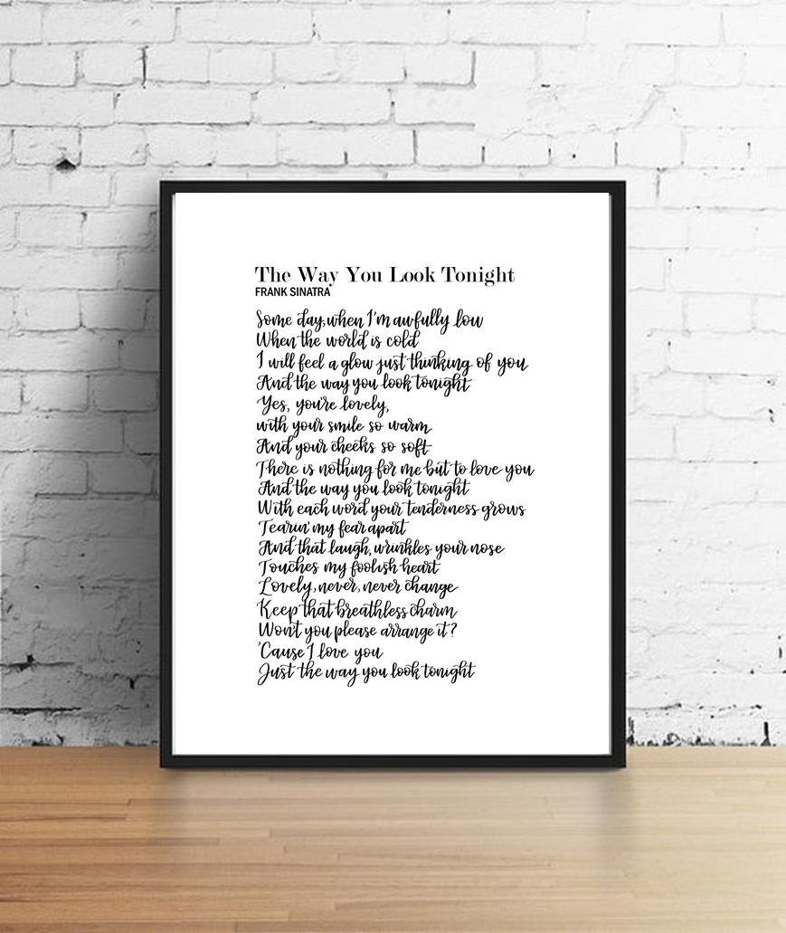 Frank Sinatra Way You Look Tonight Calligraphy 8x10