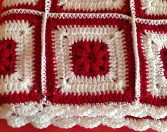 Crochet Blanket - Baby blanket - Baby Shower - Handmade blanket - Red & White Blanket - afghan granny