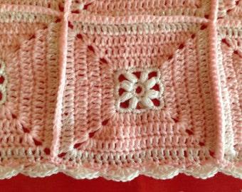 Crochet Blanket - Baby blanket - Pink & White sparkle - Afghan Granny Square - Baby Shower gift