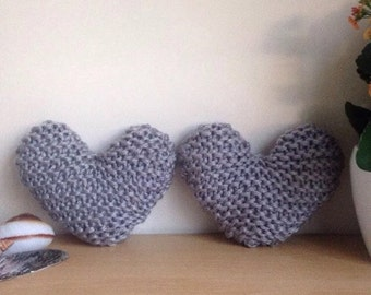 Set of 2 Hand Knitted Silver Grey Heart-Shaped Decorative Cushions