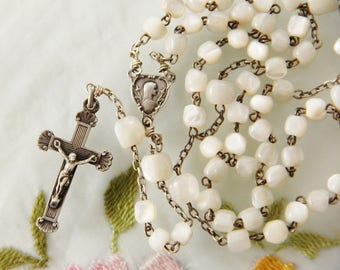 Vintage French Silver and Hand-Cut Mother of Pearl Rosary