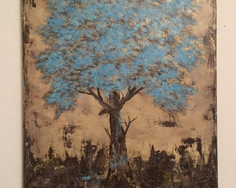 """Blue Tree Acrylic Painting / 16"""" x 20"""" Stretched Canvas / Beige, Gold Brown, Turquoise"""