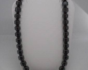 Antique Art Deco Hematite Beaded Necklace NICE!