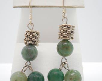 Vintage Jadeite Sterling Silver Earrings .25