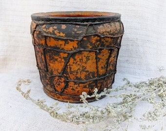 Unique clay vase Antique ceramic pot Primitive wired bowl Rustic pottery vase Country decor Farmhouse antiques Bohemian home decor Gift idea